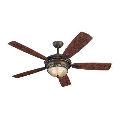 Drawing Room 56 in. Roman Bronze Ceiling Fan with Grain Walnut ABS Blades
