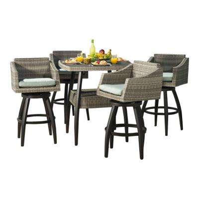 Cannes 5-Piece All-Weather Wicker Patio Bar Height Dining Set with Spa Blue Cushions