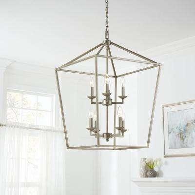 Weyburn 8-Light Antique Silver Leaf Caged Chandelier