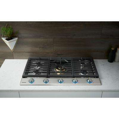 36 in. Gas Cooktop in Stainless Steel5 Burners including Dual Ring Brass Power Burner