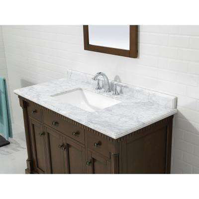 Claudia 48 in. W x 22 in. D Vanity in Antique Coffee with Marble Vanity Top in Carrara with White Basin