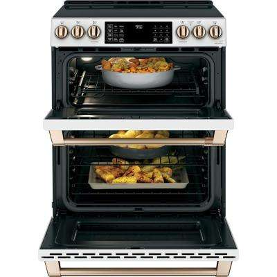 30 in. 7.0 cu. ft. Slide-In Double Oven Induction Range with Convection in Matte White, Fingerprint Resistant