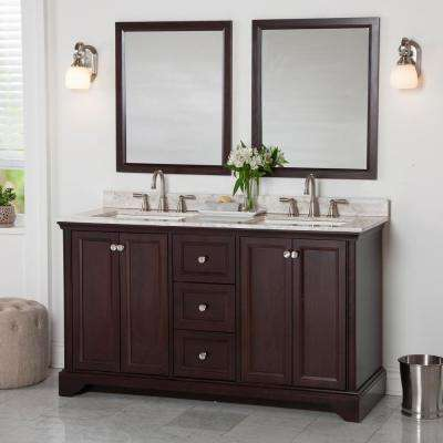 Stratfield 61 in. W x 22 in. D Bath Vanity in Chocolate with Stone Effect Vanity Top in Winter Mist with White Sink