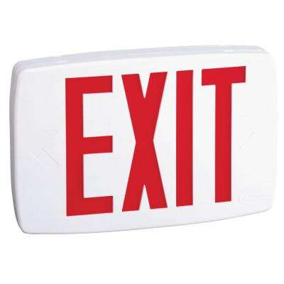 LQM S W 3 R 120/277 EL N M6 Plastic White LED Emergency Exit Sign with Battery