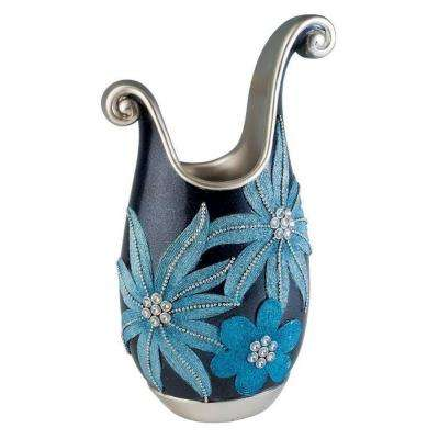 14 in. H Aqua Demeter Decorative Vase in Blue
