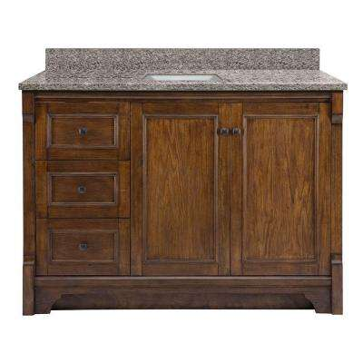 Creedmoor 49 in. W x 22 in. D Vanity in Walnut with Granite Vanity Top in Sircolo with White Basin