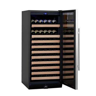 Single Zone 23.42 in. 98-Bottle Convertible Stainless Steel Wine Cooler