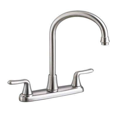 Colony Soft 2-Handle Standard Kitchen Faucet with Gooseneck Spout in Stainless Steel