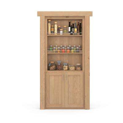 30 in. x 80 in. Flush Mount Assembled Forward Pantry Door Alder Unfinished Right-Hand Outswing