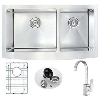 ELYSIAN Farmhouse Stainless Steel 33 in. Double Bowl Kitchen Sink and Faucet Set with Opus Faucet in Brushed Nickel