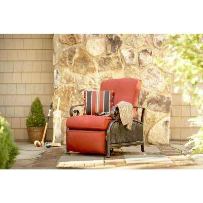 Cedar Island All-Weather Wicker Patio Recliner with Chili Cushion