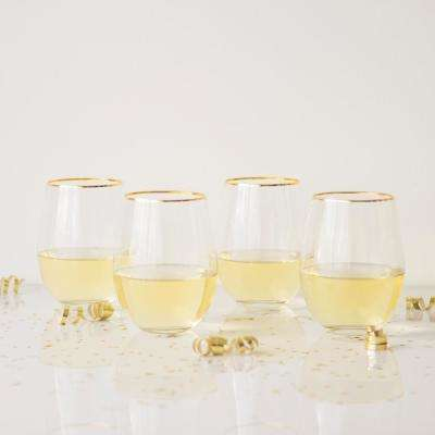 Personalized Gold Rim Stemless Wine Glasses