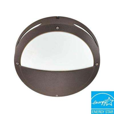 Wall/Ceiling 2-Light Outdoor Architectural Bronze Round Hooded Fixture