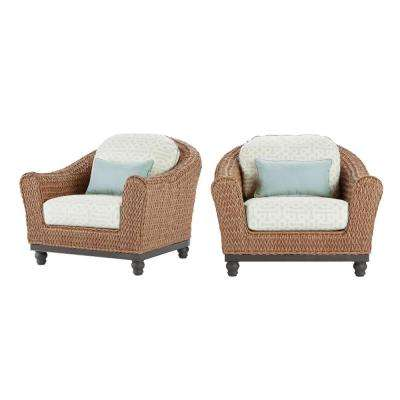 Camden Light Brown 3-Piece Wicker Outdoor Chat Set with Sunbrella Fretwork Mist Cushions