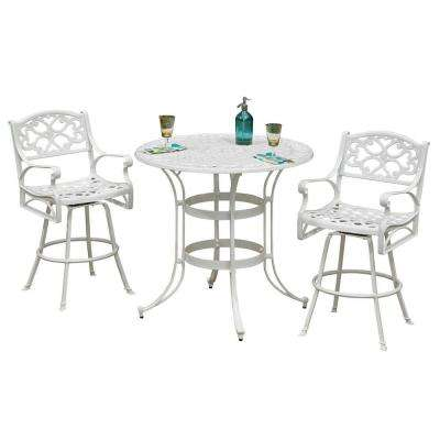 Biscayne White 3-Piece Patio Bistro Set with Green Apple Cushions-DISCONTINUED