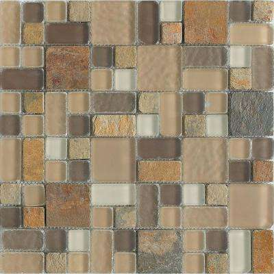 No Ka 'Oi Paia-Pa420 Stone And Glass Blend Mesh Mounted Floor and Wall Tile - 3 in. x 3 in. Tile Sample