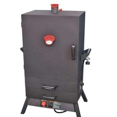 38 in. Vertical Wide Chamber Propane Gas Smoker 2 Drawer Access