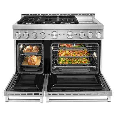 48 in. 6.3 cu. ft. Smart Double Oven Commercial-Style Gas Range with Griddle and True Convection in Stainless Steel