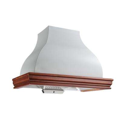 36 in. 900 CFM Ducted Solid Wood Frame  and Liner Combined Wall Mount Range Hood in Cherry and Cream