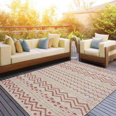 Sun Shower Beige/Red 8 ft. x 10 ft. Indoor/Outdoor Rectangular Area Rug