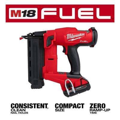 M18 FUEL GEN II 18-Volt 18-Gauge Lithium-Ion Brushless Cordless Brad Nailer Kit with One 2.0 Ah Battery, Charger and Bag