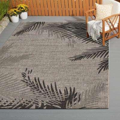 Captiva Beige/Black 5 ft. x 7 ft. Rectangle Indoor/Outdoor Area Rug