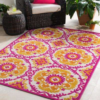 Sebrina Bright Pink 5 ft. x 7 ft. Indoor/Outdoor Area Rug