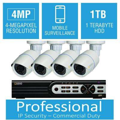 8-Channel 4MP 1TB Network Video Recorder with (4) 4MP High Definition Bullet Cameras, 100 ft. Night Vision