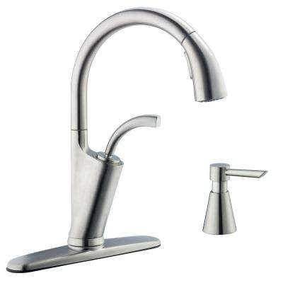 Heston Single-Handle Pull-Down Sprayer Kitchen Faucet in Stainless Steel
