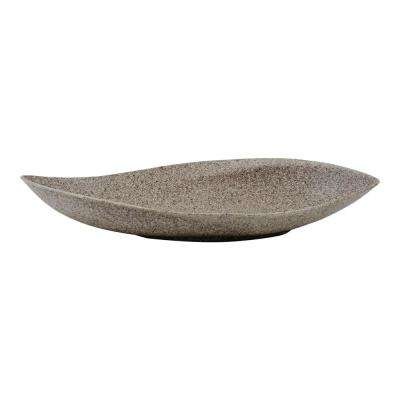 Eco 16 in. Riverstone Recycled Resin Planter Tray Succulent Leaf Plant Bowl