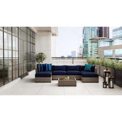 Commercial Grade Left Arm, Right Arm, or Corner Outdoor Patio Sectional Chair Cushion in Sunbrella Canvas Navy