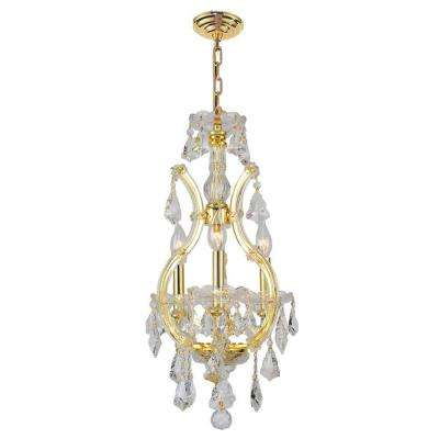 Maria Theresa Collection 4-Light Gold Chandelier with Crystal Shade