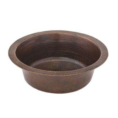 Under Counter/Surface-Mount Round Hammered Copper 14 in. 0-Hole Prep Sink in Oil Rubbed Bronze