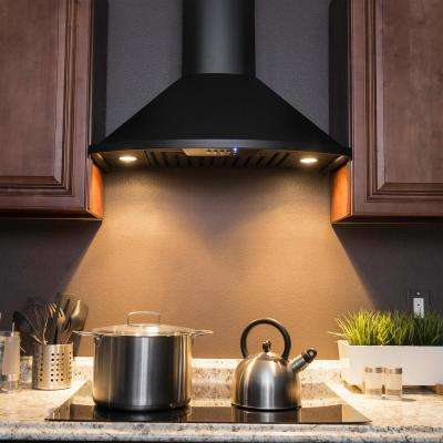 30 in. Convertible Kitchen Wall Mount Range Hood with Lights in Black Stainless Steel