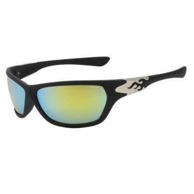 Sport Rubber Finished Black with Red Yellow Revo Heat Sunglasses