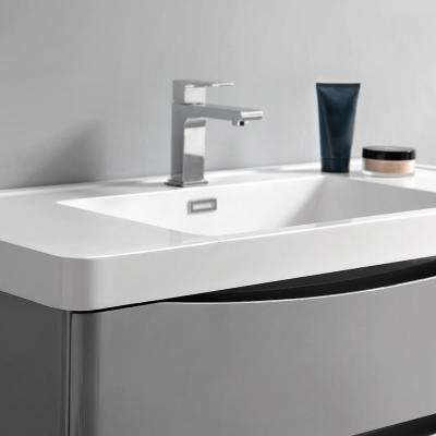 Tuscany 36 in. Modern Wall Hung Bath Vanity in Glossy Gray w/ Vanity Top in White w/ White Basin and Medicine Cabinet