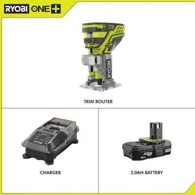 18-Volt ONE+ Cordless Fixed Base Trim Router with Tool Free Depth Adjustment with 2.0 Ah Battery and Charger Kit