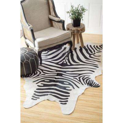 Striped White 5 ft. x 7 ft. Area Rug