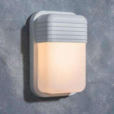 Coastal Coronado White Outdoor Integrated LED Bulkhead Wall Lantern