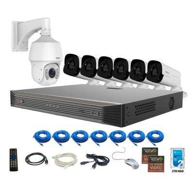 Ultra Commercial Grade 8-CH 4K 2TB SMART NVR Video Surveillance System with 6 4MP Bullet and 1 22x PTZ Cameras