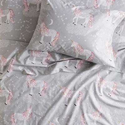 Unicorn Magic 200-Thread Count Organic Cotton Percale Sheet Set