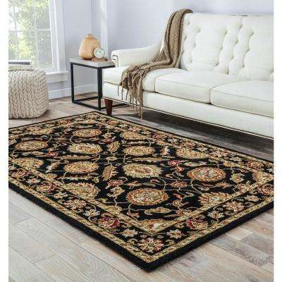 Jet Black 3 ft. x 10 ft. Oriental Runner Rug
