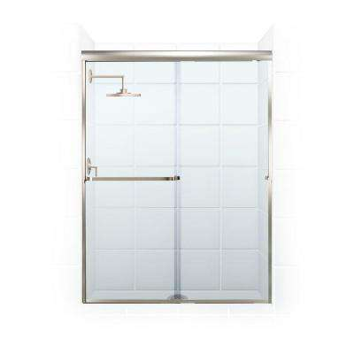 Paragon 3/16 B Series 46 in. x 65 in. Semi-Framed Sliding Shower Door with Towel Bar in Brushed Nickel and Clear Glass