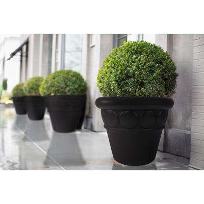 32 in. Dia Aged Charcoal Composite Commercial Planter