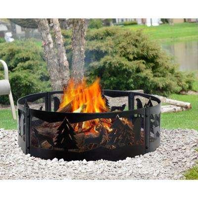 Wilderness 36 in. x 12 in. Steel Fire Pit Ring in Black
