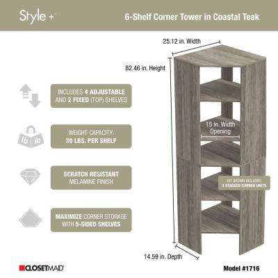 Style+ 25 in. W Coastal Teak Corner Wood Closet Tower