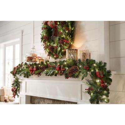 9 ft Woodmoore Battery Operated Mixed Pine LED Pre-Lit Christmas Garland with Time