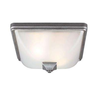 Irving Park 2-Light Outdoor Weathered Pewter Fluorescent Ceiling Flushmount with Satin Etched Glass