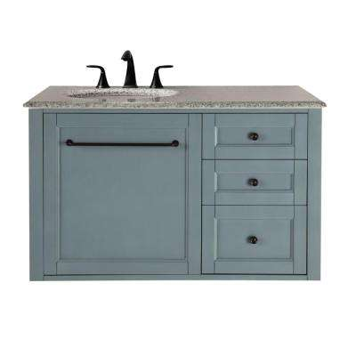 Hamilton 39 in. W Wall Hung Single Vanity in Sea Glass with Granite Vanity Top in Grey with White Basin