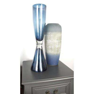 20 in. Smoked Gradient Blue Glass Decorative Vase